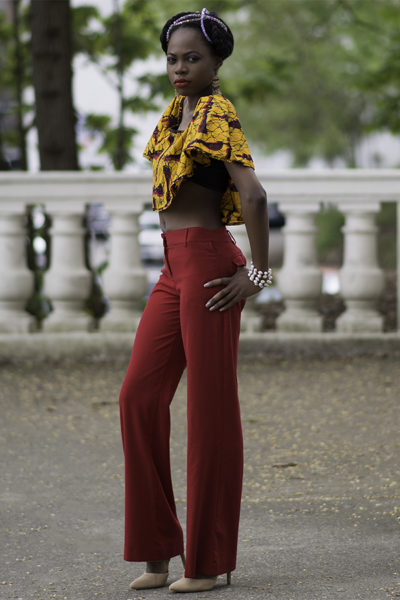 African-inspired outfit from Aburu Fashion House's spring mini collection modeled by Fauzia Johnson. (Photograph courtesy of James Casson of Visual Passion Photography)