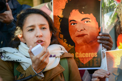 Berta Cácares' daughter speaks at a rally seeking to pressure the Organization of American States to investigate her case. (Photo by Daniel Cima / Comision Interamericano de los Derechos Humanos)