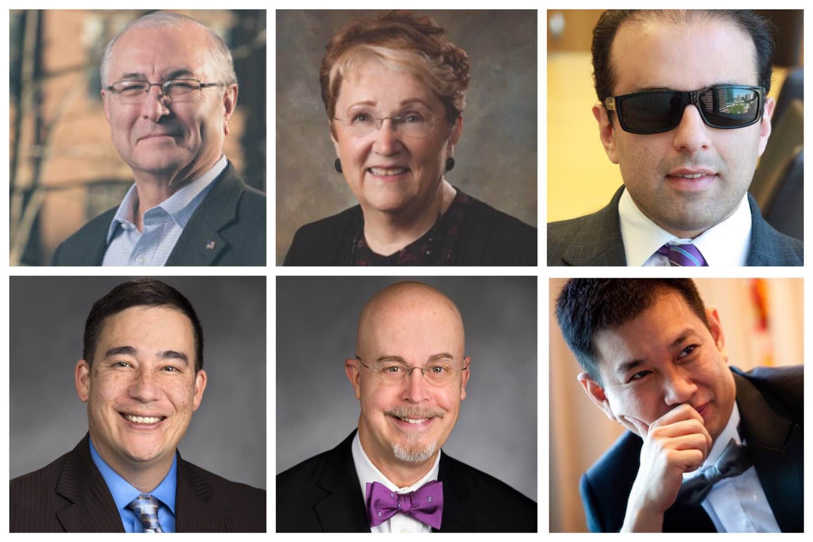The six leading candidates for Lieutenant Governor (left to right): Javier Figueroa, Karen Fraser, Cyrus Habib, Steve Hobbs, Jim Moeller and Phillip Yin. (Courtesy photos.)