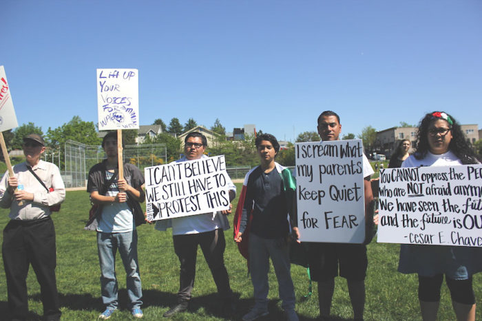 Melissa Galindo, far right, and Joel Hernandez, second from right. (Photo by DJ Martinez)