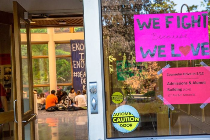 Seattle University students have occupied the Matteo Ricci College offices for a week, demanding the ouster of the college's dean. (Photo provided by the Matteo Ricci Coalition.)