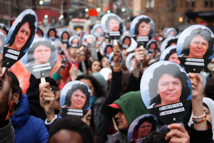 A rally at the Honduran Mission in New York City soon after Berta Cáceres was killed. (Photo by Natalie Jeffers / Matters of the Earth)