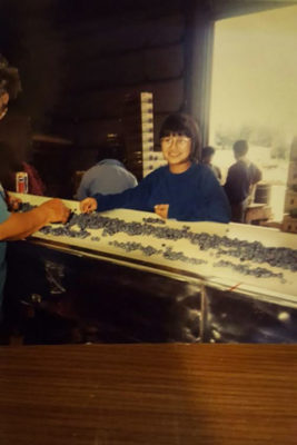 My mother working on the blueberry line at Sakuma Brothers in the 1980's. (Courtesy photo)