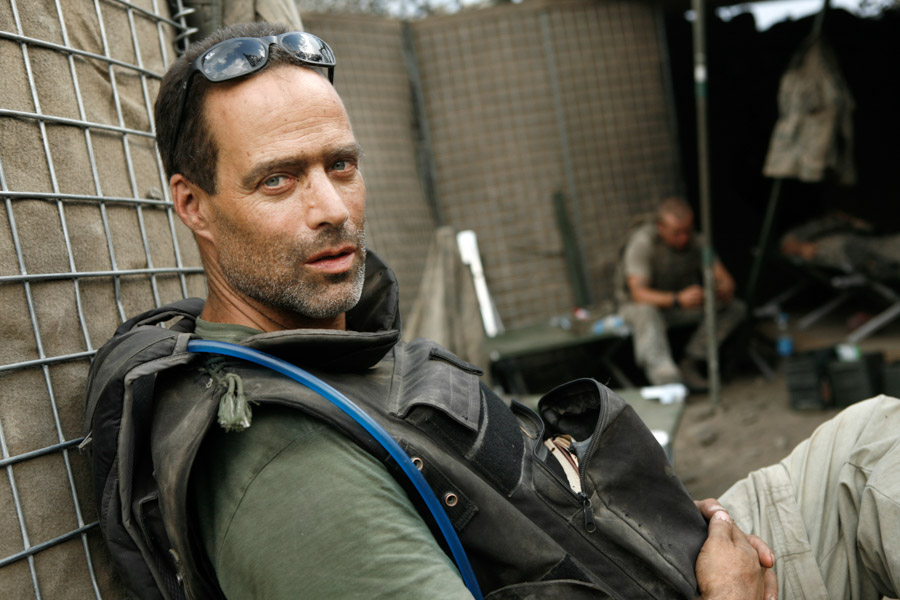 Author Sebastian Junger in a photo by photojournalist Tim Hetherington, who was killed covering conflict in Libya in 2011. (Photo via Town Hall Seattle)