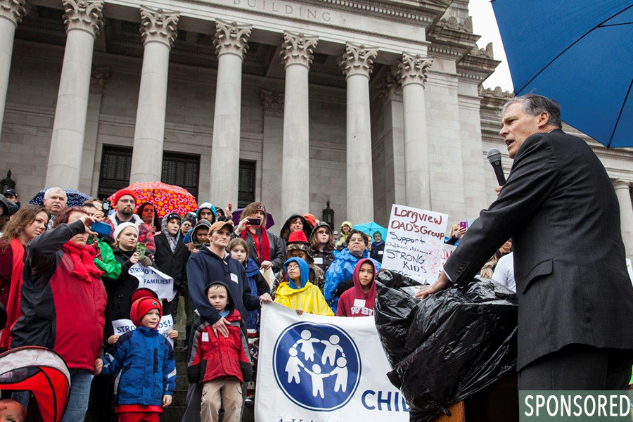 Governor Inslee speaking to child advocates at Children's Alliance Have A Heart for Kids Day. (Photo courtesy of Childrens Alliance)