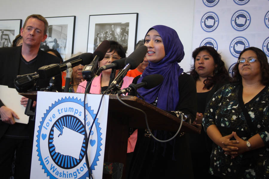 Varisha Khan speaks at a press conference of community leaders who denounced Trump ahead of two rallies in Washington. (Photo Venice Buhain.)