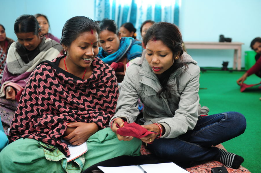 Women in Nepal adopted a sanitary kit program after ideas from the local community were incorporated into the project. (Photo by Good Neighbors International Nepal.)