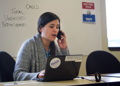 Mieko Krell calls voters in Kentucky during a May phone banking event organized by Ballard for Bernie. (Photo by Katie Anastas)