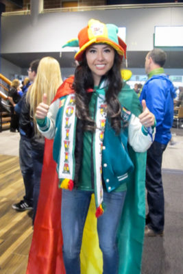 Pamela Maure shows her Bolivian pride at the Copa America match Tuesday night. (Photo by The Muzio family drove down from Kamloops to catch a glimpse of Lionel Messi. Copa America action continues Thursaday at CenturyLink with U.S. vs. Ecuador. (Photo by Yiting Lim)