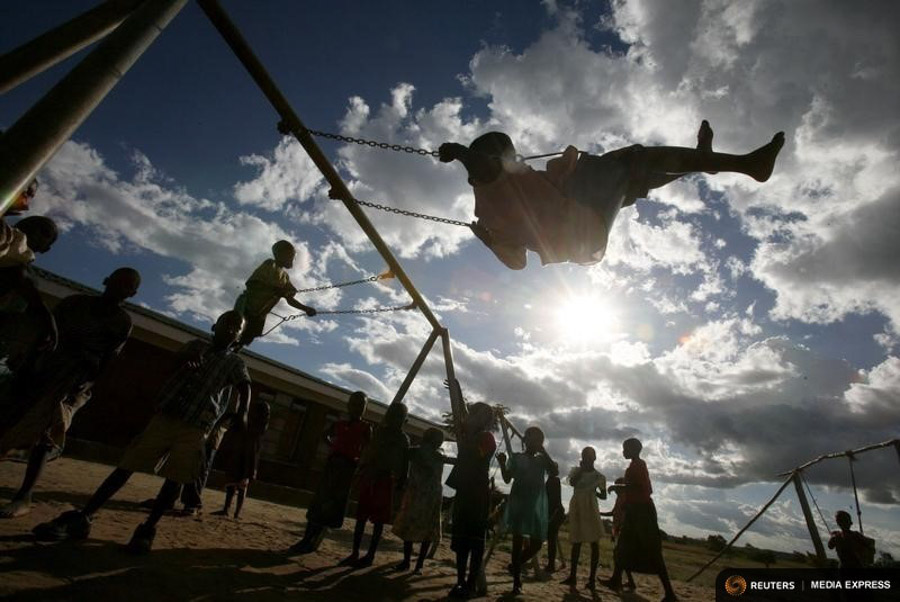 Children play at a school financed by U.S. pop star Madonna south of Malawi's capital Lilongwe. Madonna is seeking to adopt a second child from the southern African country. (Photo by REUTERS / Antony Njuguna)