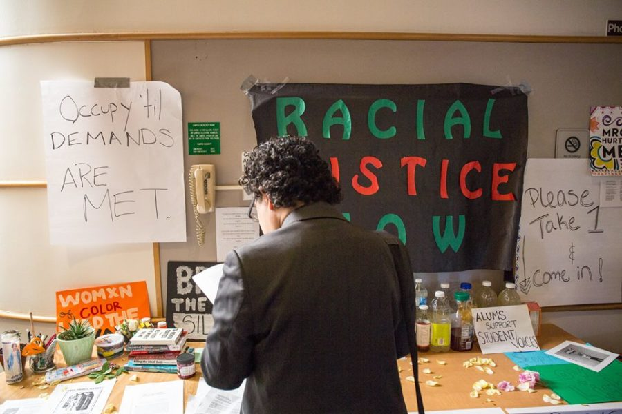 Sit-in signage outside the Matteo Ricci College office at Seattle University. (Photo courtesy MRC Coalition.)