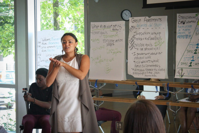 Angeles Solis presenting in Rainier Beach as part of her job as community connector with Foundation for Healthy Generations . (Photo by Esmy Jimenez)