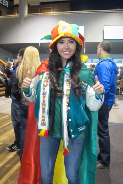 Pamela Maure shows her Bolivian pride at the Copa America match Tuesday night. (Photo by The Muzio family drove down from Kamloops to catch a glimpse of Lionel Messi. Copa America action continues Thursday at CenturyLink with U.S. vs. Ecuador. (Photo by Yiting Lim)
