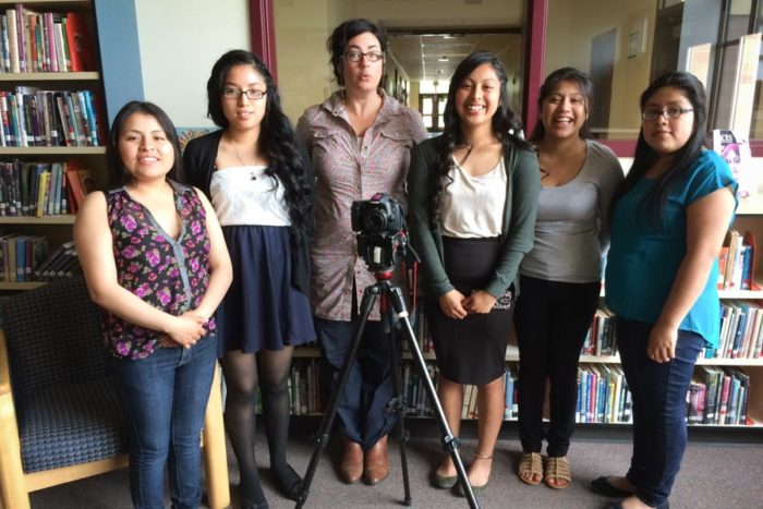 "A group photo of the crew on the day they started making ""Every Row A Path"" From left to right: Ana Mendoza, Martha Morales, Jill Freidberg, Lucia Garcia, Tersea Santos, Cilviana Hernandez. (Photo courtesy Janice Blackmore)"