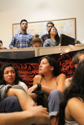 Members of SPU's Justice Coalition (background) on a visit to the MRC Coalition sit-in. (Photo by Alia Marsha)