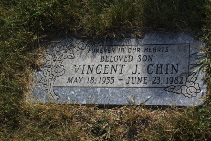 Vincent Chin's headstone engraved in English at Forest Lawn Cemetery in Detroit. (Photo by Christina Twu)