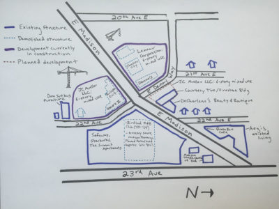 A sketch shows the old businesses along E Madison St. that have closed to make way for big apartment and retail projects. (Cynthia Brothers)