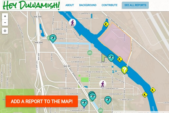 """Screenshot of """"Hey Duwamish!,"""" a mapping project reporting activities along the Duwamish River."""