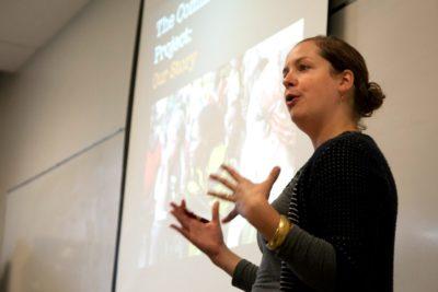 Sarah talking (photo by Jessica Partnow)