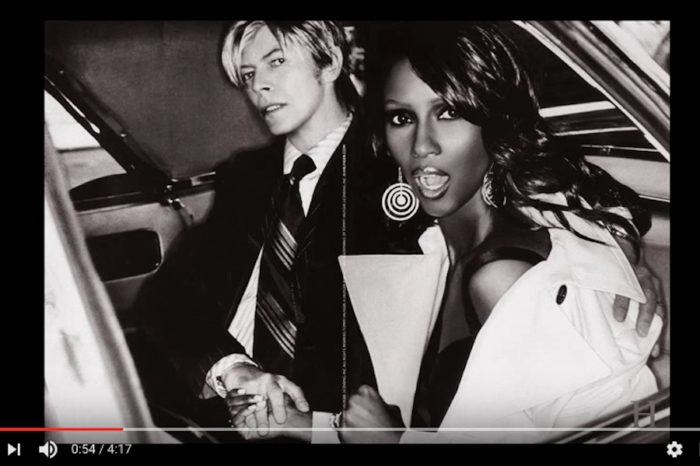 Screenshot of a YouTube tribute to the young David Bowie and Somali supermodel Iman Abdulmajid.