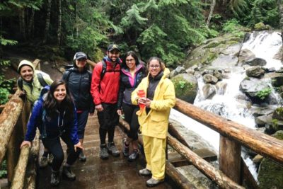 """Participants on the Latino Outdoors hike to Annette Lake in June. Karitza Medina (far right) says she thinks it's critical that we are connected to our environment and that we protect it. """"Sometimes we forget how our choices impact the environment."""" (Photo by Michelle Piñon)"""