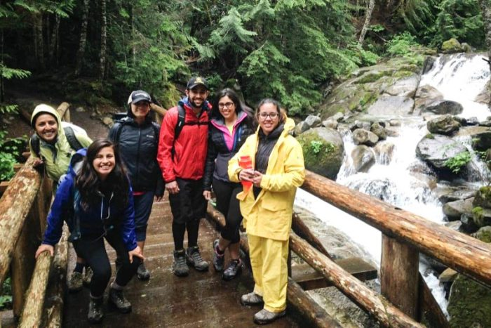 "Participants on the Latino Outdoors hike to Annette Lake in June. Karitza Medina (far right) says she thinks it's critical that we are connected to our environment and that we protect it. ""Sometimes we forget how our choices impact the environment."" (Photo by Michelle Piñon)"