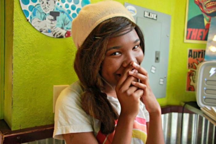 Halley Jarnet (18), at her work place, FULL TILT Ice cream. Photo by Sree Chandana Merugumala