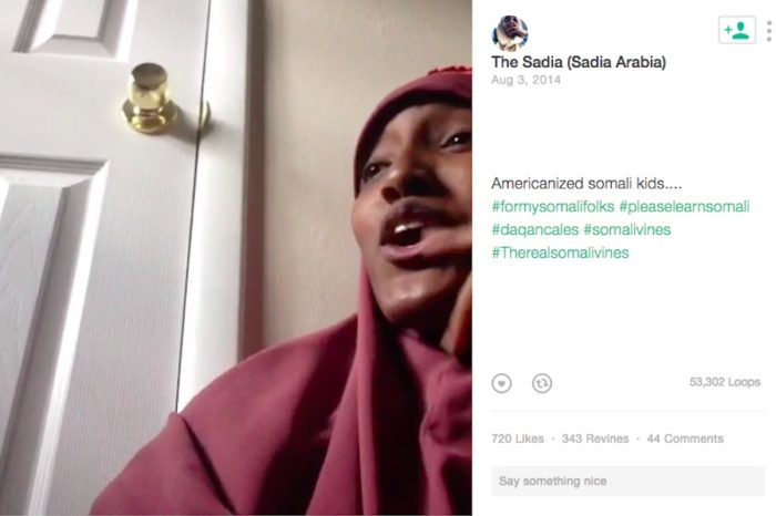 "VIne and YouTube celebrity ""Sadia Arabia"" has made a career out of making fun of the Somali generational divide in America. (Screenshot from Vine)"