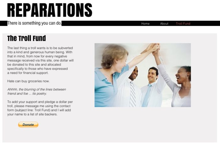 "The ""Troll Fund"" page of Reparations.me (Screenshot)"