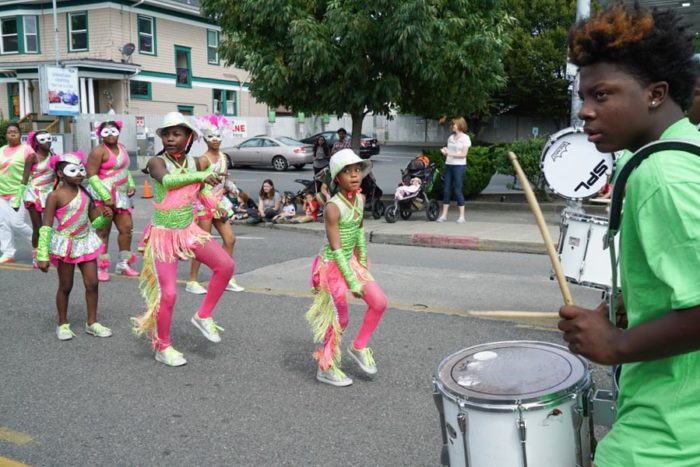 Junior (far right) is a drummer on the Electronettes Drum Line.