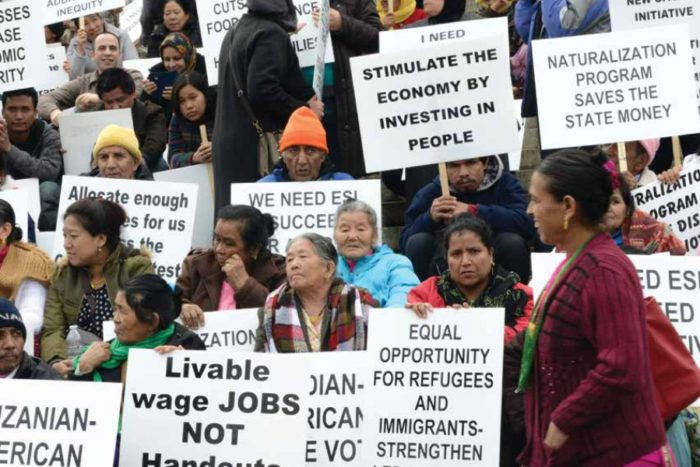 Immigrants protesting demanding to rotectv their rights. courtesy of seattle.gov