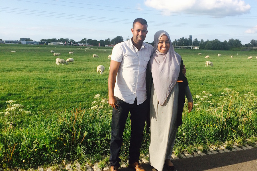 The author with her Uncle Mohammed Ibraahim In Holland, her Adheer. (Photo courtesy