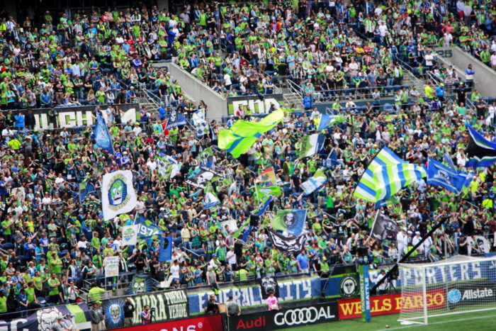 The crowd is raging behind the Seattle Sounders goal against LA Galaxy on 9th July, 2016. Photograph: Rafsanul Hoque
