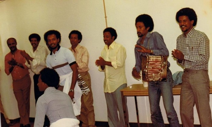 UTNA members dancing during a fund raiser for a radio station back home in 1983, long before Tigray Festival was established, Washington DC. (Photo courtesy Mulu Assefa)