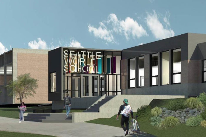 An artist's rendering of Seattle World School at the T.T. Minor building, where the school will move this year. (Illustration via Seattle Public Schools.)