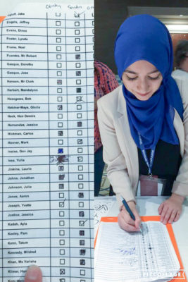 Varisha Khan, a Washington state Democratic delegate, casts a vote for Vermont Sen. Bernie Sanders at the 2016 Democratic National Convention. (Photo courtesy Varisha Khan.)