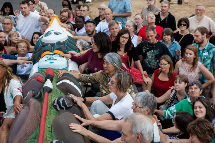 About 300 people gathered for the 2016 Lummi Nation House of Tears Totem Pole Journey celebration on August 25, 2016 at Seattleís Saint Markís Episcopal Cathedral. The Lummi Nation uses their annual totem pole journey to raise awareness of the fossil fuel industryís negative environmental effects.