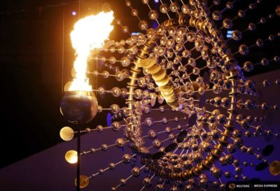 Orcas Island artist Anthony Howe's olympic cauldron is lit at the opening ceremony on Friday. (Photo from Reuters / Ivan Alvarado)