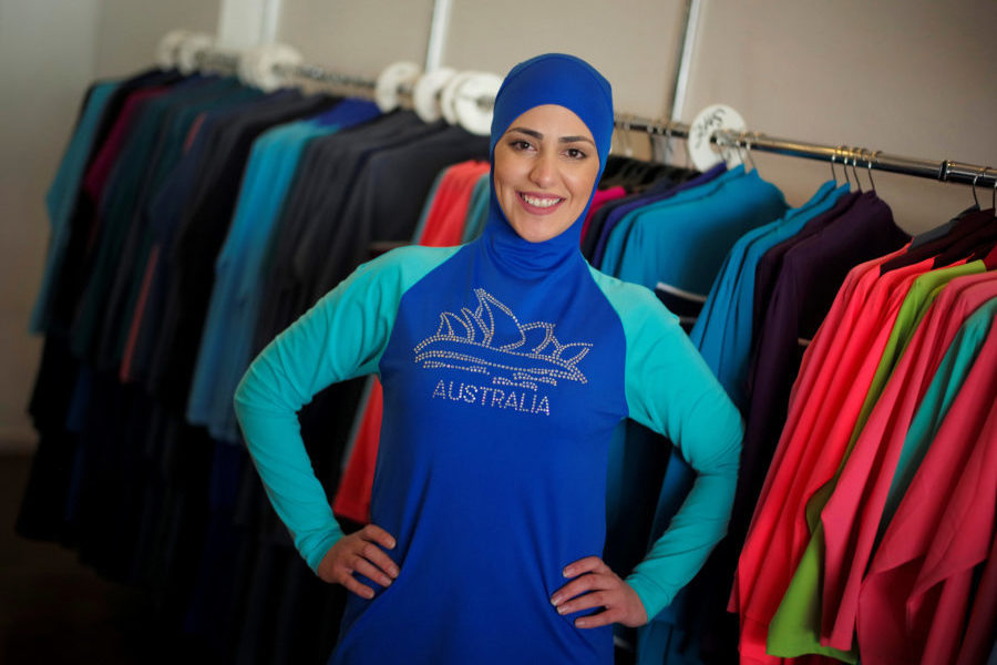Model Salwa Elrashid models a 'burkini', designed by Lebanese-born Australian Aheda Zanetti at her fashion store in Sydney, August 23, 2016. (Photo by Jason Reed for Reuters.)
