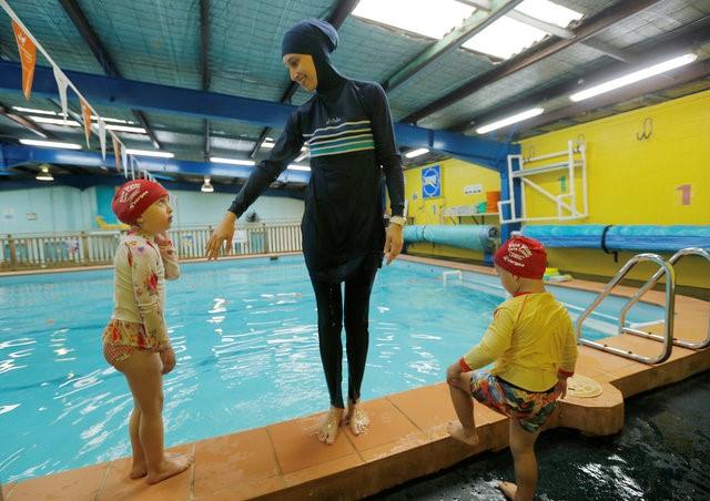 Australian muslim swimming instructor Fadila Chafic wears