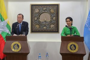 Ban Ki-moon, Secretary General of the United Nations, talks to reporters during the joint press conference with Myanmar's Foreign Minister Aung San Suu Kyi at Myanmar's Ministry of Foreign Affairs in Naypyitaw, Myanmar August 30, 2016. (Photo by Reuters.)