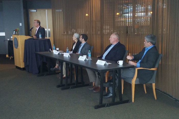 Michael Schutlzer of the Washington Technology Industry Association speaks at a press conference with other business leaders on immigration reform. (Photo by OneAmerica via Facebook.)
