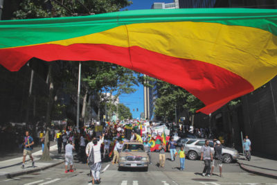 Ethiopians Americans marched down Jackson Street Tuesday in a solidarity protest of the Ethiopian government's oppression — and the lack of notice that it gets in Western countries. (Photo by Damme Getachew)