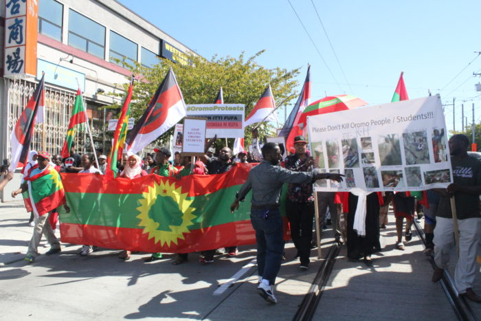 Oromos in Seattle held another protest of the Ethiopian government on Thursday. (Photo by Damme Getachew.)