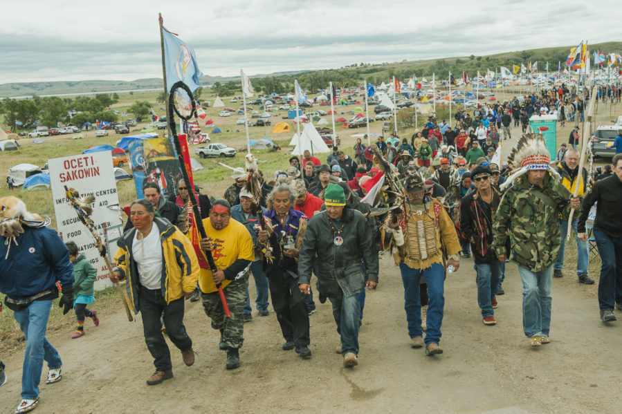 Protesters demonstrate against the Energy Transfer Partners' Dakota Access oil pipeline near the Standing Rock Sioux reservation in Cannon Ball, North Dakota. (Photo by Andrew Cullen)