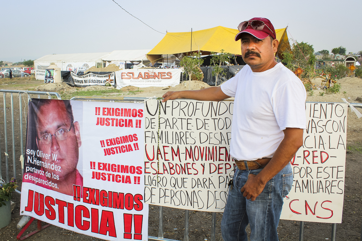 Liborio Villanueva's (right) son, Isaac Jair Villanueva Yáñez, went missing in June 2011. Villanueva still doesn't know where his son is, but the exhumation from a mass grave in Morelos state in June could provide him an answer, he says. (Mayela Sánchez, GPJ Mexico.)