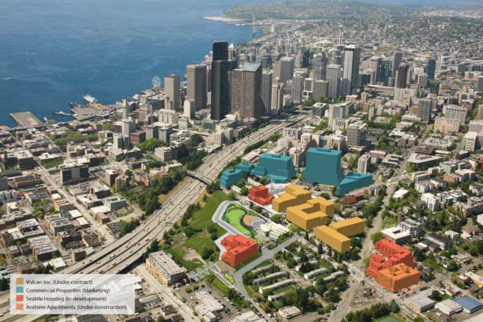 A rendering of the Yesler Terrace project currently underway, including 900,000 square feet of office space in the buildings in blue. (Photo by GGLO via SHA)
