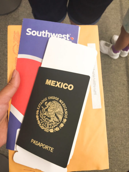 Getting ready to fly out of the country on my Mexican passport. (Photo by Esmy Jimenez)