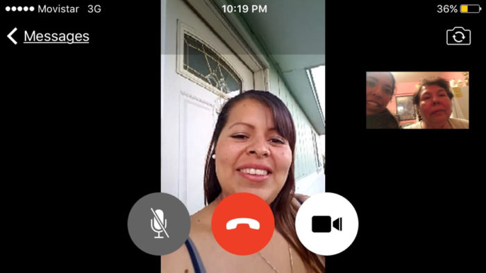 The author's step-cousin, Rosario Lopez, facetimes with her grandmother Carolina Miranda after years of not seeing each other. (Photo by Esmy Jimenez)