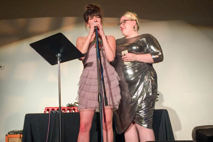 #ShoutYourAbortion founders Amelia Bonow and Lindy West at the Stomp the Patriarchy event in Seattle on Saturday. (Photo by Melissa Lin)